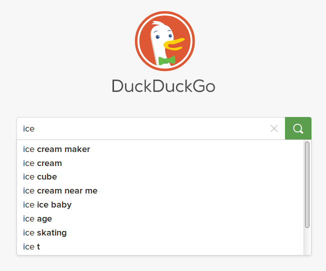 Search ice in DuckDuckGo